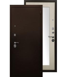 Стальная дверь Ратибор Оптима 3К с зеркалом (Лиственница беж)