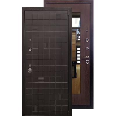Стальная дверь Ратибор Силуэт 3К с зеркалом (Венге капучино)