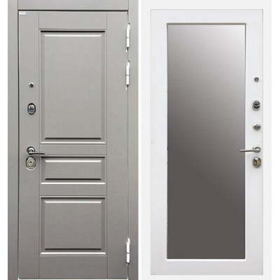 Стальная дверь Ратибор Лондон 3К с зеркалом (Силк Сноу)