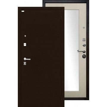 Стальная дверь Ратибор Люкс с зеркалом (Антик медь / Экодуб)