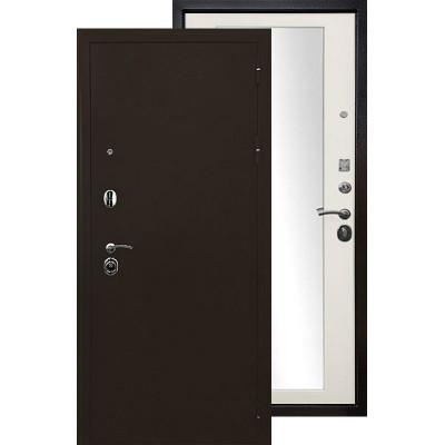 Стальная дверь Ратибор Троя 3К с зеркалом (Белая матовая)
