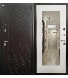 Стальная дверь Ратибор Квант 3К с зеркалом (Лиственница беж)