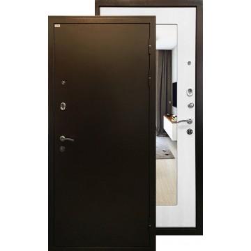 Стальная дверь Ратибор Милан с зеркалом (Белый ясень)