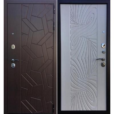 Стальная дверь Ратибор Витраж 3К (Лиственница беж)