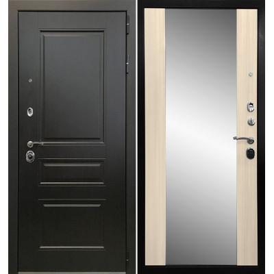 Стальная дверь Ратибор Монолит 3К с зеркалом (Сандал белый)